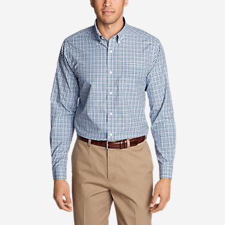 Men's Wrinkle-Free Pinpoint Oxford Classic Fit Long-Sleeve Shirt - Seasonal Pattern in Blue