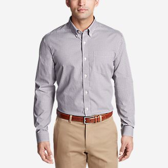 Men's Wrinkle-Free Pinpoint Oxford Classic Fit Long-Sleeve Shirt - Seasonal Pattern in Purple