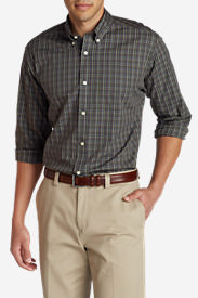 Men's Wrinkle-Free Pinpoint Oxford Classic Fit Long-Sleeve Shirt - Seasonal Pattern in Brown