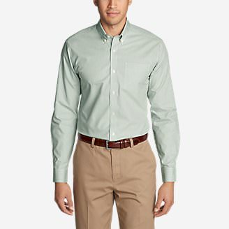 Men's Wrinkle-Free Pinpoint Oxford Classic Fit Long-Sleeve Shirt - Seasonal Pattern in Green