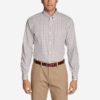 Men's Wrinkle-Free Pinpoint Oxford Classic Fit Long-Sleeve Shirt - Seasonal Pattern in Red