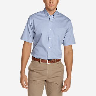 Men's Wrinkle-Free Classic Pinpoint Oxford Short-Sleeve Shirt - Solid in Blue