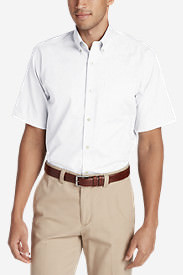Men's Wrinkle-Free Classic Pinpoint Oxford Short-Sleeve Shirt - Solid in White