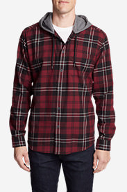 Men's Wild River Lightweight Flannel Hoodie in Red