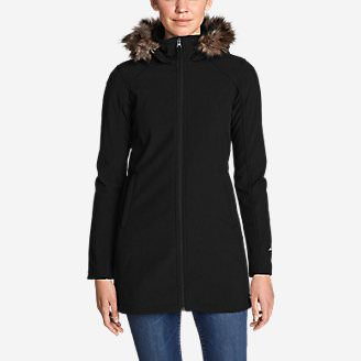 Women's Windfoil® Elite 2.0 Faux Fur Hooded Trench Coat in Black