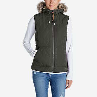 Women's Snowfurry Hooded Vest in Green
