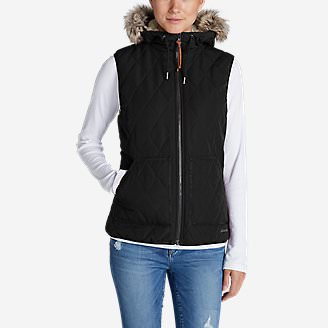 Women's Snowfurry Hooded Vest in Black