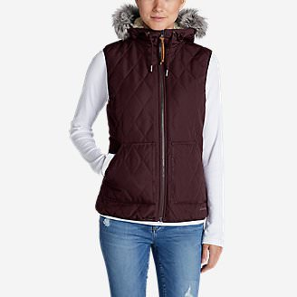 Women's Snowfurry Hooded Vest in Red