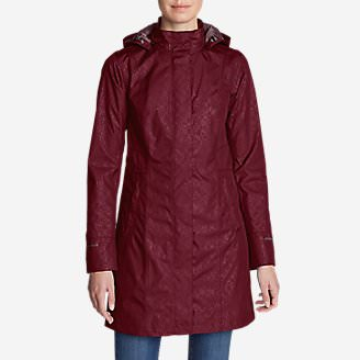 Women's Girl On The Go Insulated Trench Coat in Red