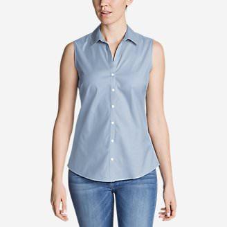 Women's Wrinkle-Free Sleeveless Shirt - Solid in Blue