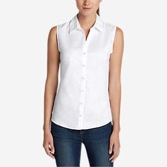 Women's Wrinkle-Free Sleeveless Shirt - Solid in White