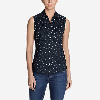 Women's Wrinkle-Free Sleeveless Shirt - Print in Blue