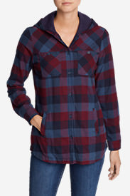 Women's Stine's Favorite Flannel Hooded Shirt Jacket in Blue