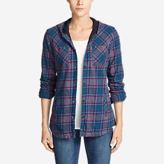 Women's Stine's Favorite Flannel Hooded Shirt Jacket in Green