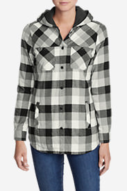Women's Stine's Favorite Flannel Hooded Shirt Jacket in Gray
