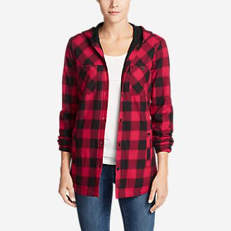 Women's Stine's Favorite Flannel Hooded Shirt Jacket in Red