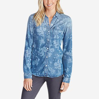 Women's Tranquil Boyfriend Shirt - Print in Blue