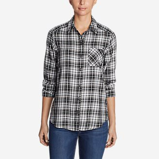 Women's Tranquil Boyfriend Shirt - Plaid in Black