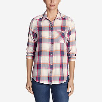Women's Tranquil Boyfriend Shirt - Plaid in White