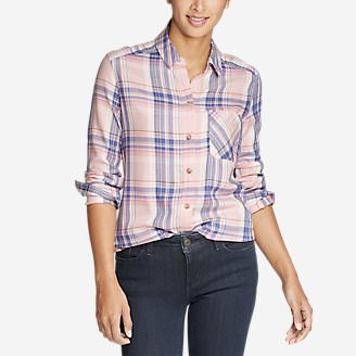 Women's Tranquil Boyfriend Shirt - Plaid in Red