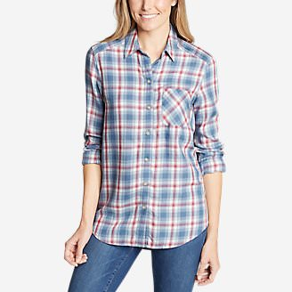 Women's Tranquil Boyfriend Shirt - Plaid in Blue