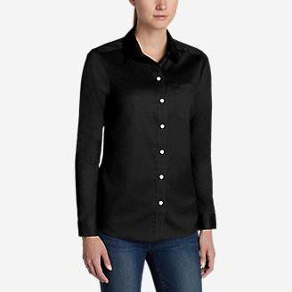 Women's Wrinkle-Free Boyfriend Long-Sleeve Shirt in Black