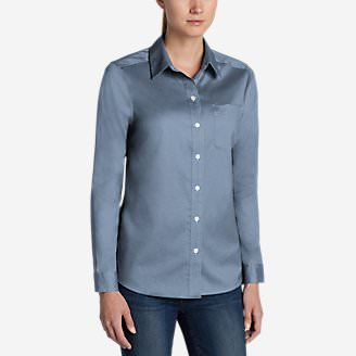 Women's Wrinkle-Free Boyfriend Long-Sleeve Shirt in Blue
