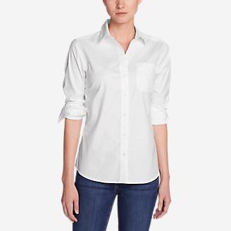 Women's Wrinkle-Free Boyfriend Long-Sleeve Shirt in White