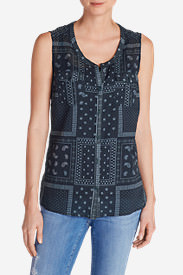 Women's Packable Sleeveless Shirt - Print in Blue