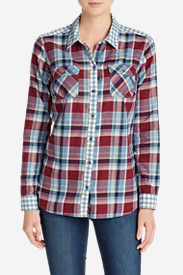 Women's Stine's Favorite Flannel Mixed Plaid Shirt in Blue