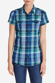 Women's Packable Short-Sleeve Shirt in Blue