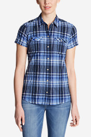Women's Packable Short-Sleeve Shirt in Blue
