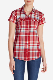 Women's Packable Short-Sleeve Shirt in Red