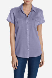 Women's Packable Short-Sleeve Shirt - Solid in Purple