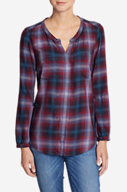 Women's Tranquil Falling Leaves Long-Sleeve Top - Plaid in Blue