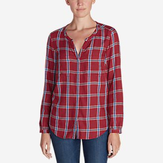 Women's Tranquil Falling Leaves Long-Sleeve Top - Plaid in Orange