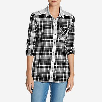 Women's Stine's Favorite Flannel Shirt - Mixed Plaid Boyfriend in Black