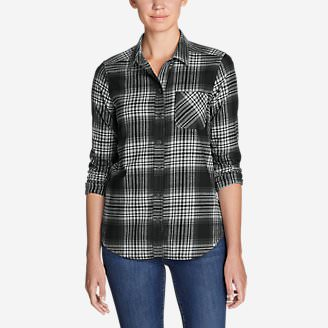 Women's Stine's Favorite Flannel Shirt - Mixed Plaid Boyfriend in Gray