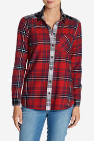 Women's Stine's Favorite Flannel Shirt - Mixed Plaid Boyfriend in Red