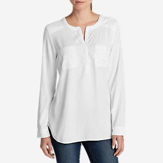 Women's Tranquil Popover Top with Embroidery in White