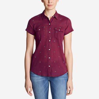 Women's Packable Short-Sleeve Shirt - Print in Red