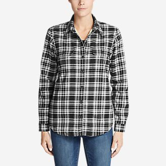 Women's Eddie's Favorite Flannel Sherpa-Lined Shirt Jacket in Black