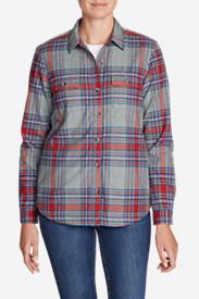Women's Eddie's Favorite Flannel Sherpa-Lined Shirt Jacket in Gray