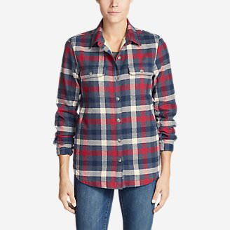 Women's Eddie's Favorite Flannel Sherpa-Lined Shirt Jacket in Blue