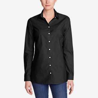 Women's Wrinkle-Free Long-Sleeve Tunic - Solid in Black