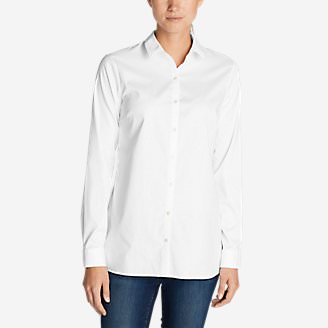 Women's Wrinkle-Free Long-Sleeve Tunic - Solid in White