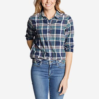 Women's Boyfriend Packable Shirt in Blue