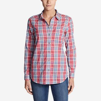 Women's Boyfriend Packable Shirt in Red