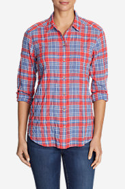 Women's Boyfriend Packable Shirt in Red