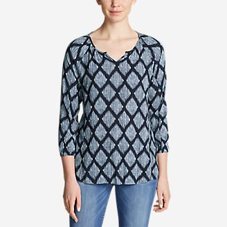 Women's Thistle 3/4-Sleeve Popover Shirt in Blue